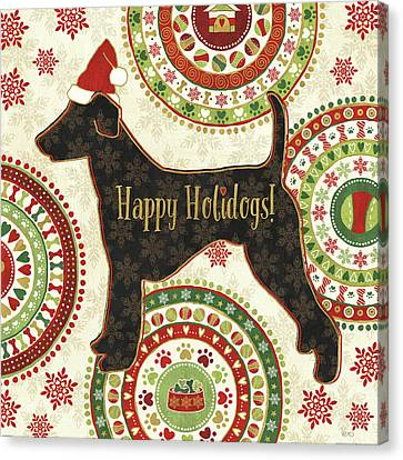 Christmas Dog Canvas Print - Happy Holidogs Iv by Veronique Charron