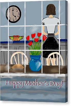 Canvas Print featuring the digital art Happy Homemaker by Christine Fournier