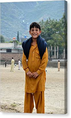 Canvas Print featuring the photograph Happy Laughing Pathan Boy In Swat Valley Pakistan by Imran Ahmed