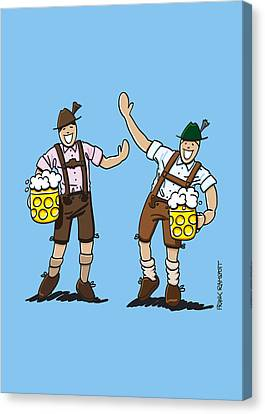 Beer Canvas Print - Happy Lederhosen Men With Beer Stein by Frank Ramspott