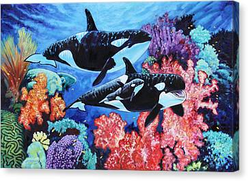 Happy Life Of A Killer Whale Canvas Print by John Lautermilch