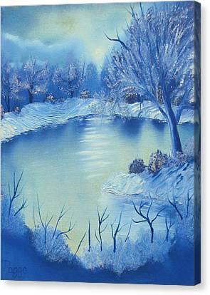 Happy Little Winterscape Canvas Print by Ben Pogge