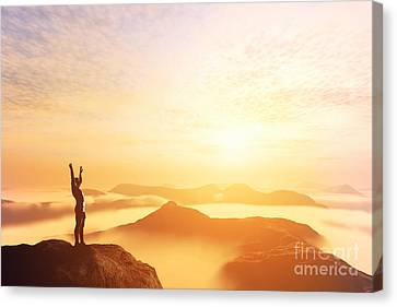 Happy Man With Hands Up On The Top Of The World Above Clouds Canvas Print