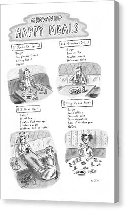 'happy Meals For Grown Ups' Canvas Print by Roz Chast
