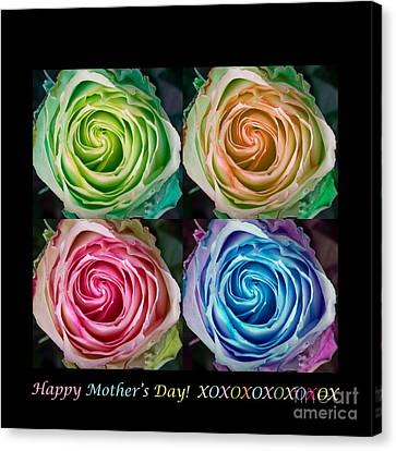 Happy Mothers Day Hugs Kisses And Colorful Rose Spirals Canvas Print by James BO  Insogna