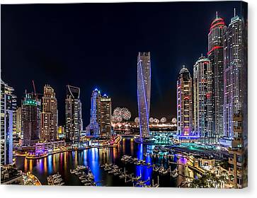 Happy New Year Dubai Canvas Print by Vinaya Mohan