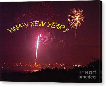 Canvas Print featuring the photograph happy New Year fireworks by Gary Brandes