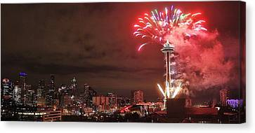 Happy New Year Seattle Canvas Print by Benjamin Yeager