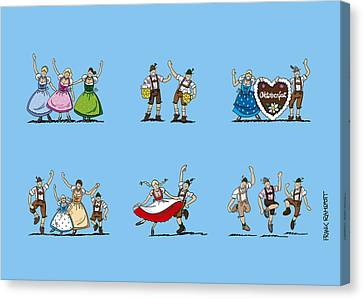 Deutschland Canvas Print - Happy Oktoberfest Cartoon People by Frank Ramspott