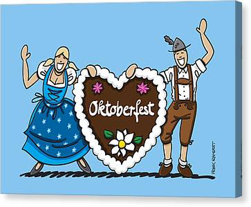 Vector Canvas Print - Happy Oktoberfest Couple With Gingerbread Heart by Frank Ramspott