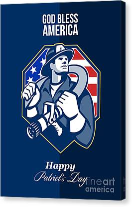 Happy Patriots Day God Bless America Retro Canvas Print by Aloysius Patrimonio