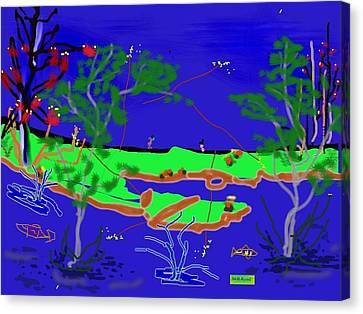 Happy Peninsula Digital Painting Canvas Print by Colette Dumont