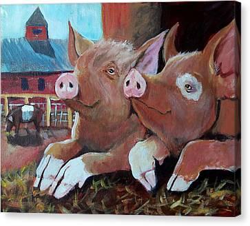 Happy Pigs Canvas Print by Dona Davis