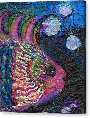 Happy Pink Fish Canvas Print by Anne-Elizabeth Whiteway