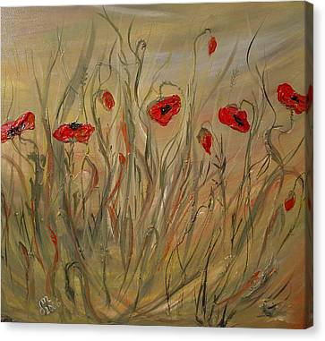 Canvas Print featuring the painting Happy Poppies by Dorothy Maier