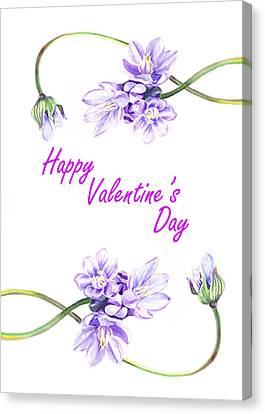 Be My Valentine Canvas Print - Happy Purple Valentine by Irina Sztukowski