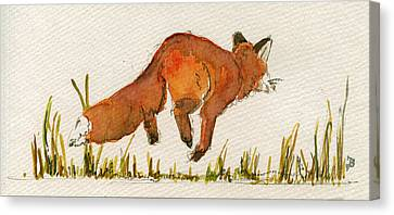 Happy Red Fox Canvas Print by Juan  Bosco