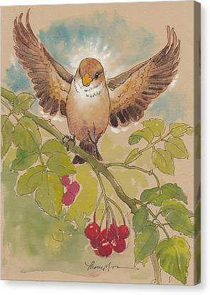 Happy Sparrow Number Four Canvas Print by Tracie Thompson