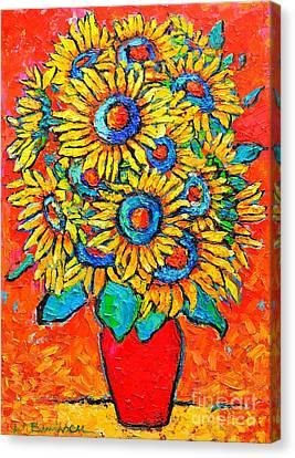 Happy Sunflowers Canvas Print by Ana Maria Edulescu
