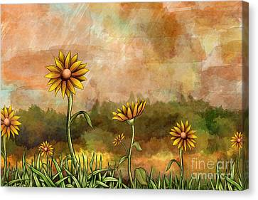 Happy Sunflowers Canvas Print by Bedros Awak