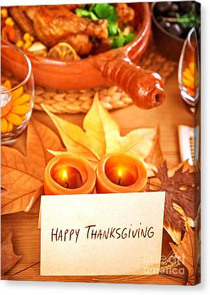Dinner Party Invitation Canvas Print - Happy Thanksgiving by Anna Om