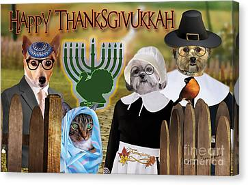 Happy Thanksgivukkah -1 Canvas Print