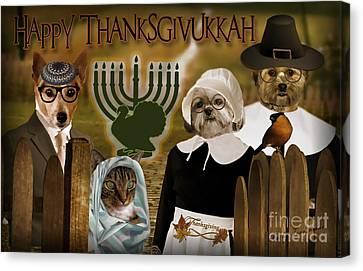 Canvas Print featuring the digital art Happy Thanksgivukkah -4 by Kathy Tarochione