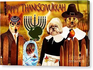 Canvas Print featuring the digital art Happy Thanksgivukkah -5 by Kathy Tarochione