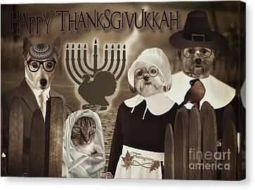Canvas Print featuring the digital art Happy Thanksgivukkah -6 by Kathy Tarochione