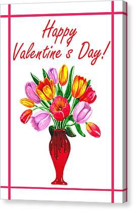 Be My Valentine Canvas Print - Happy Valentines Tulip Bouquet by Irina Sztukowski