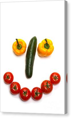 Happy Veggie Face Canvas Print by Olivier Le Queinec