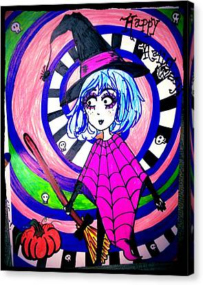 Happy Witch Canvas Print by Melody erin Hammonds
