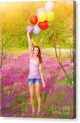 Happy Woman With Colorful Balloons Canvas Print