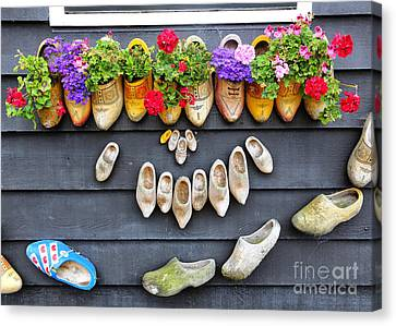 Happy Wooden Shoes Canvas Print