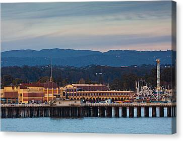 Urban Scenes Canvas Print - Harbor And Municipal Wharf At Dusk by Panoramic Images