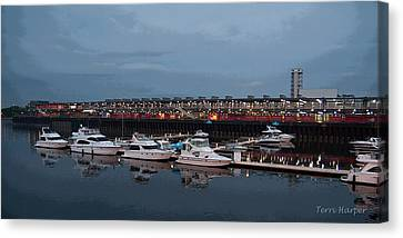 Canvas Print featuring the photograph Harbor And Skyline From Old Montreal by Terri Harper