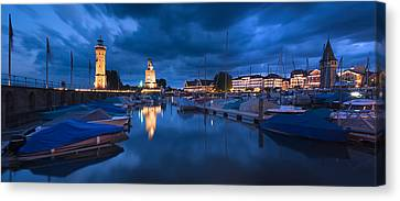 Harbor At Dusk, Lindau, Lake Constance Canvas Print by Panoramic Images