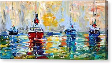 Harbor Boats At Sunrise Canvas Print by Karen Tarlton