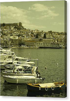 Harbor Boats In Kavala Greece Canvas Print by Tamyra Crossley