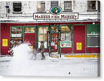 Harbor Fish Market In Winter Canvas Print by Benjamin Williamson