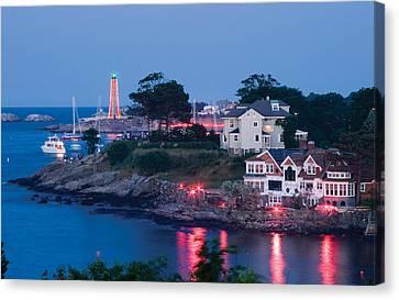 Marblehead Harbor Illumination Canvas Print by Jeff Folger
