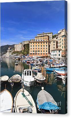 harbor in Camogli - Italy Canvas Print by Antonio Scarpi