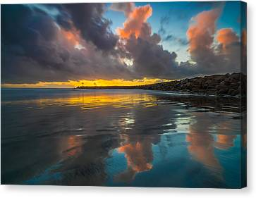 Harbor Jetty Reflections Canvas Print by Larry Marshall