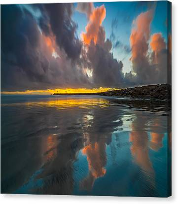Harbor Jetty Reflections Square Canvas Print