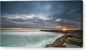 Singh Canvas Print - Harbor Jetty Sunset - Pano by Larry Marshall