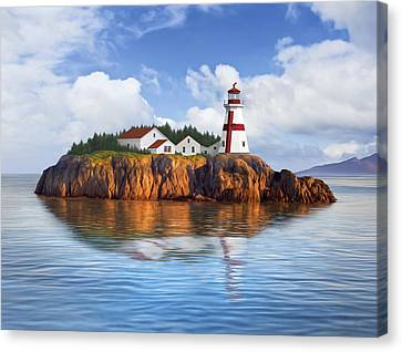 Harbor Light Canvas Print by James Charles