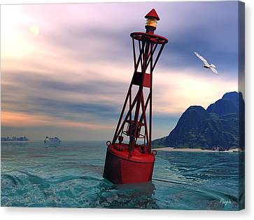Harbor Light Canvas Print by John Pangia