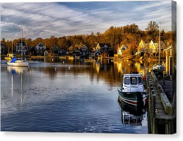 Boats In Water Canvas Print - Harbor Light by Mark Papke