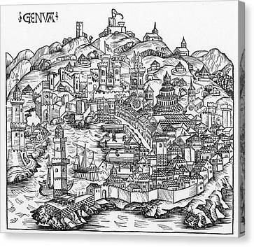 Harbor Of Genoa, 1493 Canvas Print by Granger