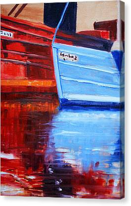 Harbor Reflection Canvas Print by Nancy Merkle